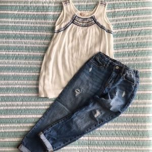 Girls Jeans and Sleeveless Tunic-style Top